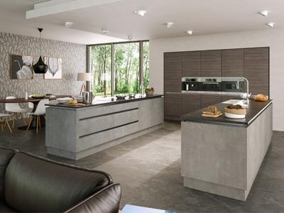 Grey Brown Ontario Walnut Light Concrete Kitchen