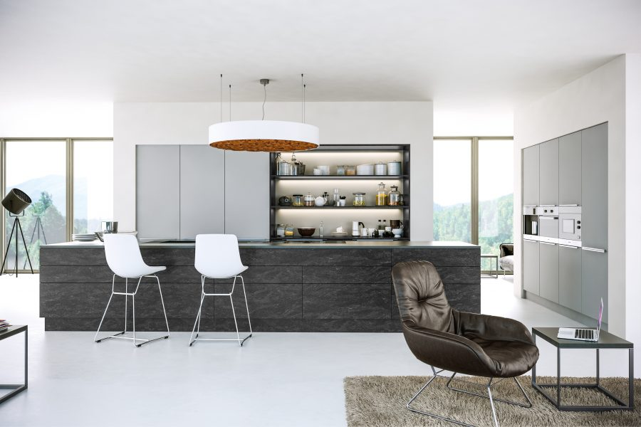 Supermatt Light Grey Evora Stone Graphite Kitchen- Matt Solid Door Finish
