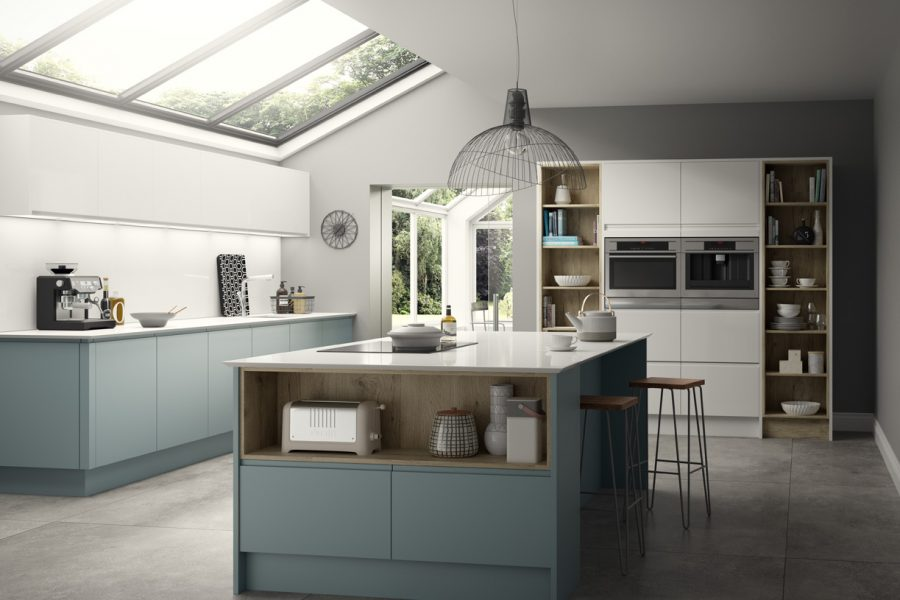New York Cook's Blue, Gloss White & Rustic Oak
