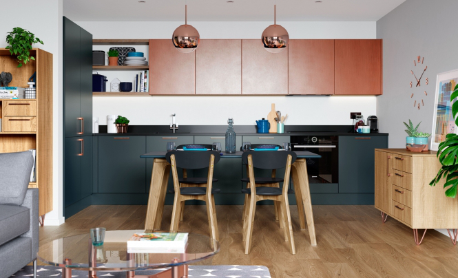 ZOLA MATTE Marine, Ferro Painted Copper & Rezana Stained Light Oak